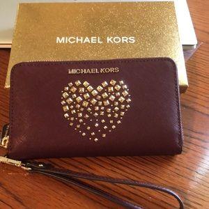 Michael Kors Merlot Leather LG Flat MF Phone Case